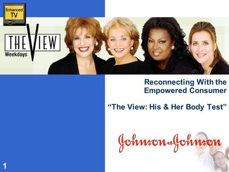 "1 Reconnecting With the Empowered Consumer ""The View: His & Her Body Test"""