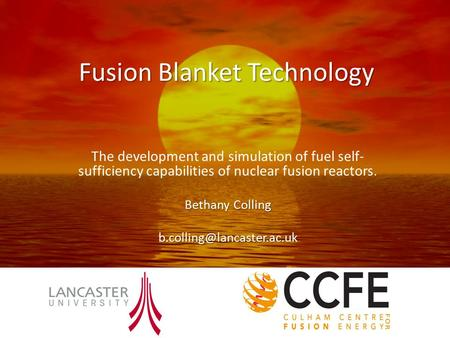 Fusion Blanket Technology The development and simulation of fuel self- sufficiency capabilities of nuclear fusion reactors. Bethany Colling