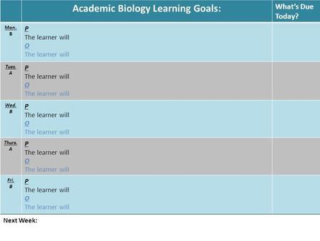 Academic Biology Learning Goals: What's Due Today? Mon. B P The learner will O The learner will Tues. A P The learner will O The learner will Wed. B P.