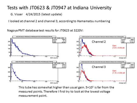 Tests with JT0623 & JT0947 at Indiana University Nagoya PMT database test results for JT0623 at 3220V: This tube has somewhat higher than usual gain. 5×10.