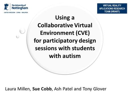 VIRTUAL REALITY APLICATIONS RESEARCH TEAM (VIRART) Using a Collaborative Virtual Environment (CVE) for participatory design sessions with students with.