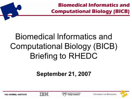 Biomedical Informatics and Computational Biology (BICB) Briefing to RHEDC September 21, 2007.