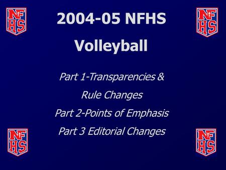 2004-05 NFHS Volleyball Part 1-Transparencies & Rule Changes Part 2-Points of Emphasis Part 3 Editorial Changes.