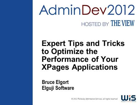 © 2012 Wellesley Information Services. All rights reserved. Expert Tips and Tricks to Optimize the Performance of Your XPages Applications Bruce Elgort.