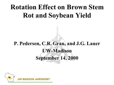 UW MADISON AGRONOMY Rotation Effect on Brown Stem Rot and Soybean Yield P. Pedersen, C.R. Grau, and J.G. Lauer UW-Madison September 14, 2000.