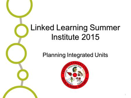 1 Linked Learning Summer Institute 2015 Planning Integrated Units.