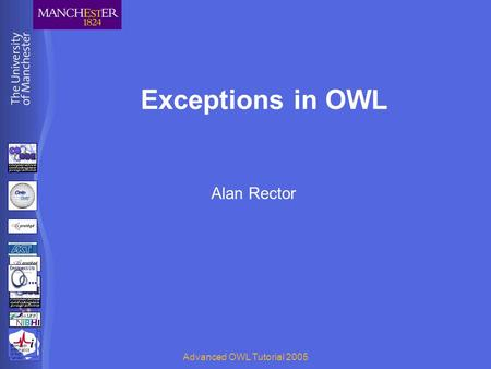 BioHealth Informatics Group Advanced OWL Tutorial 2005 Exceptions in OWL Alan Rector BioHealth Informatics Group.