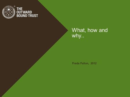 What, how and why.. Freda Fallon, 2012. Learning through Adventure.