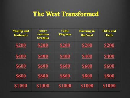 The West Transformed Mining and Railroads Native American Struggles Cattle Kingdoms Farming in the West Odds and Ends $200 $400 $600 $800 $1000.