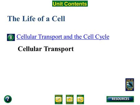 Unit Overview – pages 138-139 The Life of a Cell Cellular Transport and the Cell Cycle Cellular Transport.