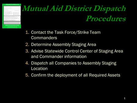 1 Mutual Aid District Dispatch Procedures 1.Contact the Task Force/Strike Team Commanders 2.Determine Assembly Staging Area 3.Advise Statewide Control.