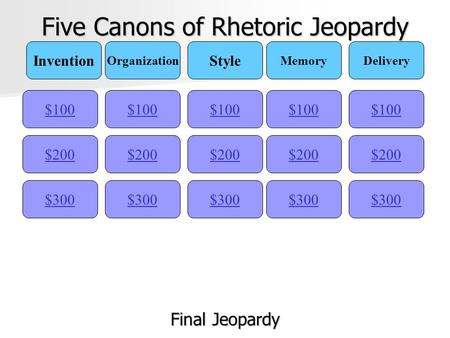 Five Canons of Rhetoric Jeopardy $100 Invention Organization Style MemoryDelivery $200 $300 $200 $100 $300 $200 $100 $300 $200 $100 $300 $200 $100 Final.