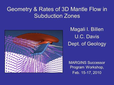 Geometry & Rates of 3D Mantle Flow in Subduction Zones