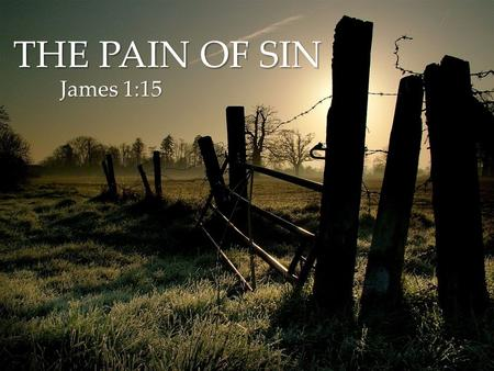 { THE PAIN OF SIN James 1:15 James 1:15. Sin is the act of choosing not to trust in GOD, but trust in OURSELVES.