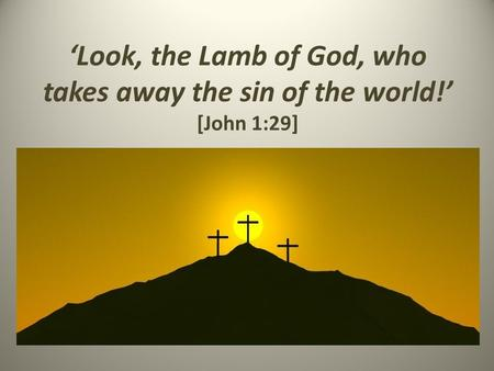 'Look, the Lamb of God, who takes away the sin of the world!' [John 1:29]