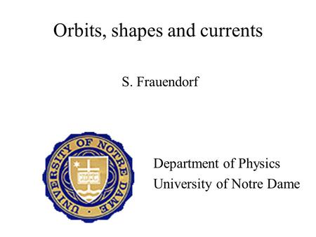 Orbits, shapes and currents S. Frauendorf Department of Physics University of Notre Dame.