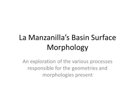 La Manzanilla's Basin Surface Morphology An exploration of the various processes responsible for the geometries and morphologies present.