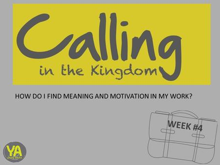 WEEK #4 HOW DO I FIND MEANING AND MOTIVATION IN MY WORK?
