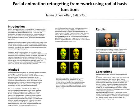 Facial animation retargeting framework using radial basis functions Tamás Umenhoffer, Balázs Tóth Introduction Realistic facial animation16 is a challenging.