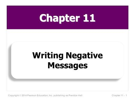 Chapter 11 Writing Negative Messages Copyright © 2014 Pearson Education, Inc. publishing as Prentice Hall 1Chapter 11 -