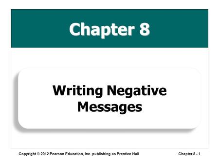 Chapter 8 Copyright © 2012 Pearson Education, Inc. publishing as Prentice HallChapter 8 - 1 Writing Negative Messages.