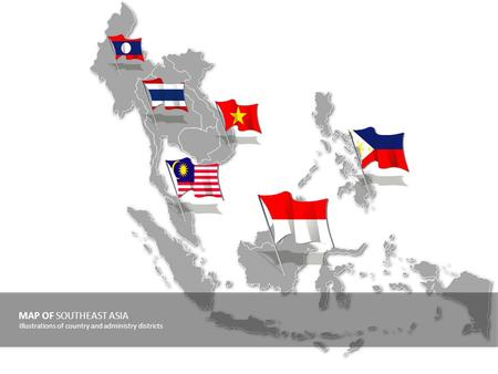 MAP OF SOUTHEAST ASIA Illustrations of country and administry districts.