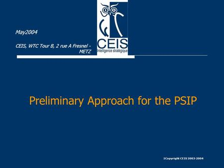 1Copyright CEIS 2003-2004 Preliminary Approach for the PSIP May2004 CEIS, WTC Tour B, 2 rue A Fresnel - METZ.