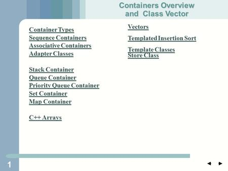 1 Container Types Container Types Sequence Containers Sequence Containers Associative Containers Associative Containers Adapter Classes Adapter Classes.