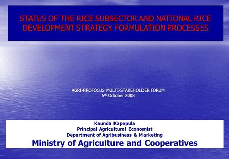 STATUS OF THE RICE SUBSECTOR AND NATIONAL RICE DEVELOPMENT STRATEGY FORMULATION PROCESSES AGRI-PROFOCUS MULTI-STAKEHOLDER FORUM 5 th October 2008 Kaunda.