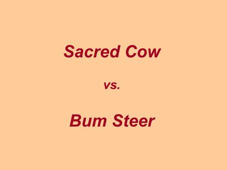 Sacred Cow vs. Bum Steer. Cost / Benefit of Cattle in India.