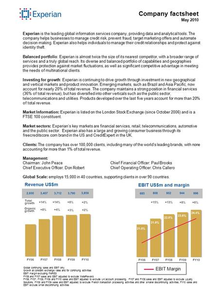 Company factsheet May 2010 Experian is the leading global information services company, providing data and analytical tools. The company helps businesses.