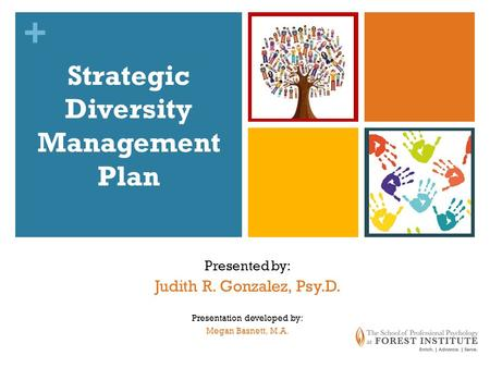 + Strategic Diversity Management Plan Presented by: Judith R. Gonzalez, Psy.D. Presentation developed by: Megan Basnett, M.A.