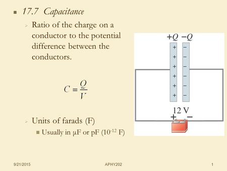 APHY202 9/21/2015 1 17.7 Capacitance   Ratio of the charge on a conductor to the potential difference between the conductors.   Units of farads (F)