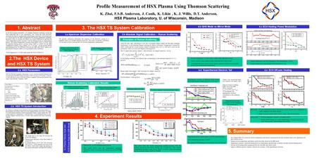 Profile Measurement of HSX Plasma Using Thomson Scattering K. Zhai, F.S.B. Anderson, J. Canik, K. Likin, K. J. Willis, D.T. Anderson, HSX Plasma Laboratory,