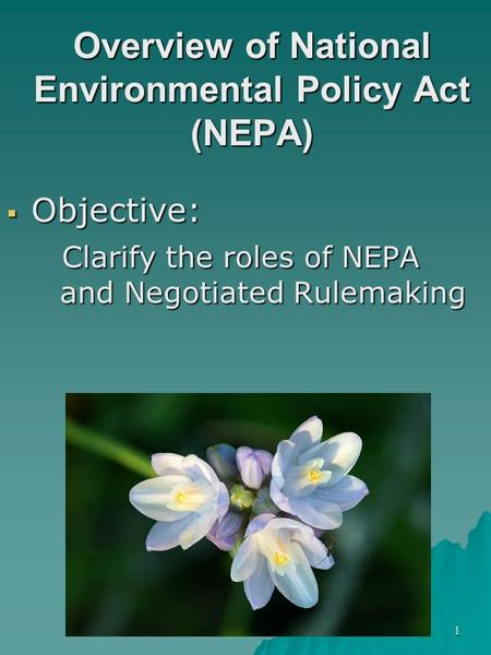 1 Overview of National Environmental Policy Act (NEPA)  Objective: Clarify the roles of NEPA and Negotiated Rulemaking Clarify the roles of NEPA and Negotiated.