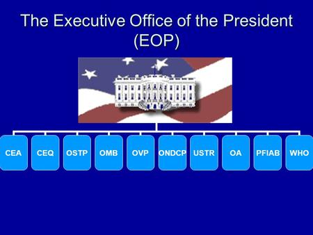 The Executive Office of the President (EOP). Office of Management and Budget (OMB)