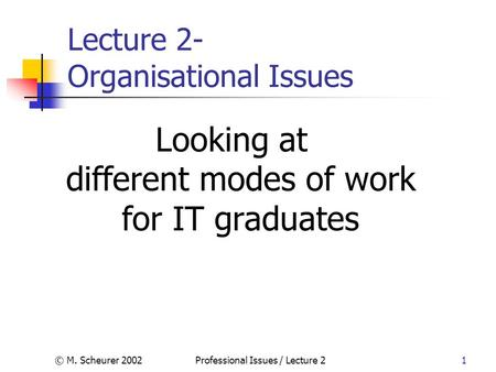 © M. Scheurer 2002Professional Issues / Lecture 21 Lecture 2- Organisational Issues Looking at different modes of work for IT graduates.