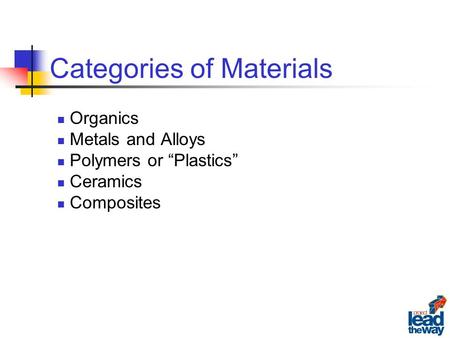 "Categories of Materials Organics Metals and Alloys Polymers or ""Plastics"" Ceramics Composites."