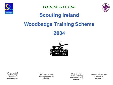 TRAINING SCOUTING Scouting Ireland Woodbadge Training Scheme 2004 We also have a revised training scheme for Group Leaders… We are guided by Scouting Ireland's.