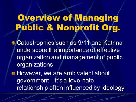 An overview of the non profit organization