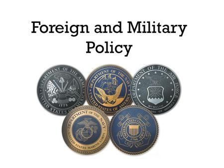 Foreign and Military Policy. Kinds of Foreign Policy Majoritarian Politics- widespread benefits and costs (Pres has most power, public opinion supports.