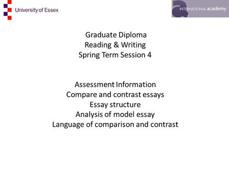academic writing i th ppt video online  graduate diploma reading writing spring term session 4 assessment information compare and contrast essays essay