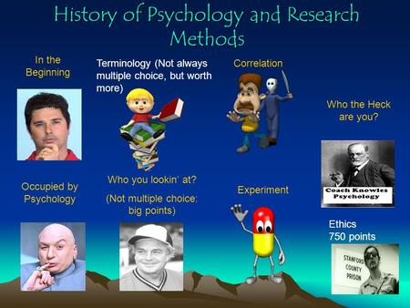 History of Psychology and Research Methods In the Beginning Who you lookin' at? (Not multiple choice: big points) Correlation Experiment Who the Heck.