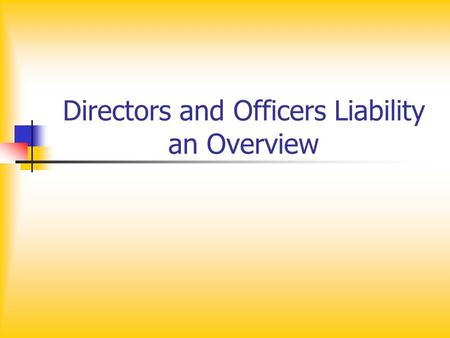 Directors and Officers Liability an Overview. Directors and Officers Responsibilities To the stock holder Duty of Care Business Judgment Rule Duty of.