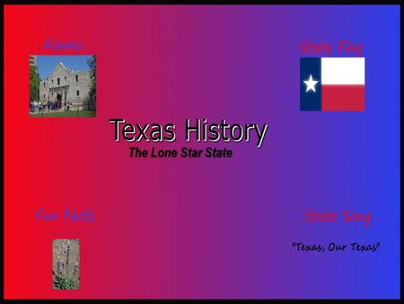 The Lone Star State. Battle of The Alamo February 23 rd – March 6 th, 1836 Location: San Antonio, TX Result: Mexico Victory Texas Revolution Important.