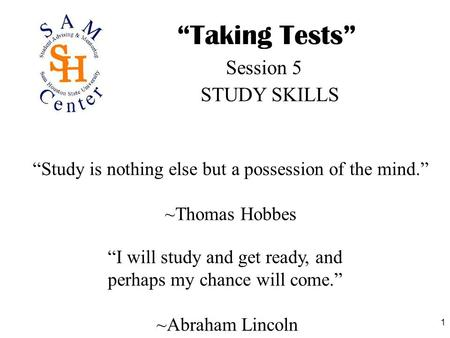 """Taking Tests"" Session 5 STUDY SKILLS"