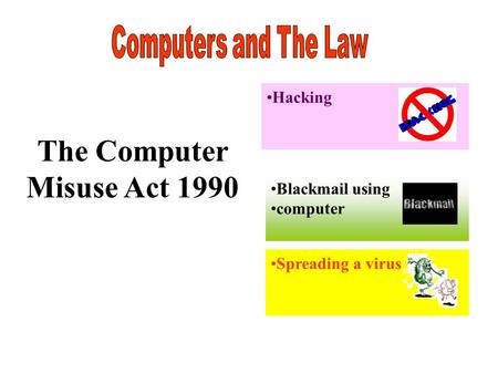 The Computer Misuse Act 1990 Hacking Blackmail using computer Spreading a virus.