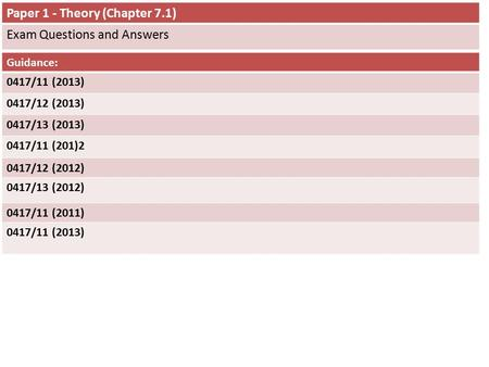 Paper 1 - Theory (Chapter 7.1) Exam Questions and Answers Guidance: 0417/11 (2013) 0417/12 (2013) 0417/13 (2013) 0417/11 (201)2 0417/12 (2012) 0417/13.