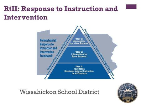 1 RtII: Response to Instruction and Intervention Wissahickon School District.