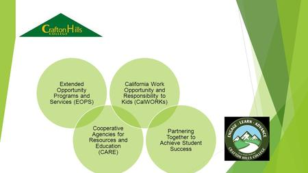 Extended Opportunity Programs and Services (EOPS) Cooperative Agencies for Resources and Education (CARE) California Work Opportunity and Responsibility.